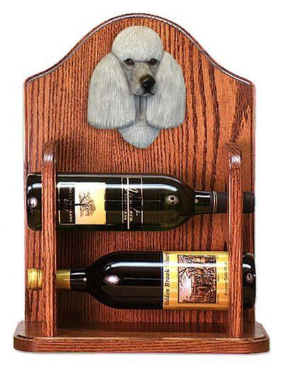 Poodle Dog Wood Wine Rack Bottle Holder Figure Grey 1