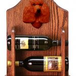 Poodle Dog Wood Wine Rack Bottle Holder Figure Red 1