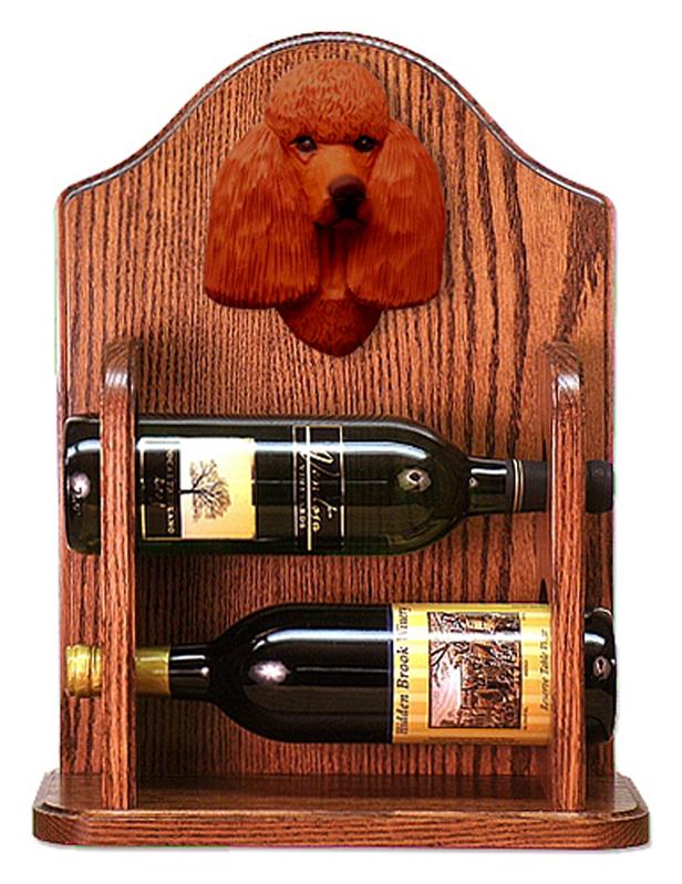 Poodle Dog Wood Wine Rack Bottle Holder Figure Red