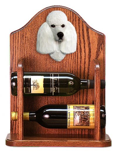 Poodle Dog Wood Wine Rack Bottle Holder Figure Wht 1