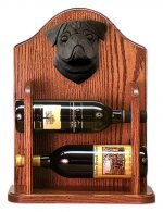 Pug Dog Wood Wine Rack Bottle Holder Figure Blk