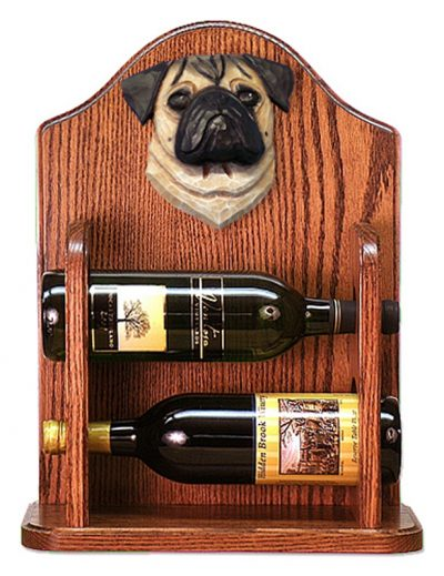 Pug Dog Wood Wine Rack Bottle Holder Figure Fawn 1