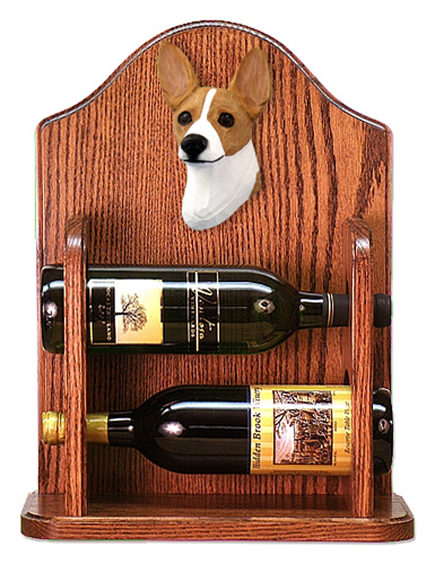Rat Terrier Dog Wood Wine Rack Bottle Holder Figure Red