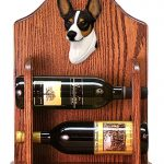 Rat Terrier Dog Wood Wine Rack Bottle Holder Figure Tri 1