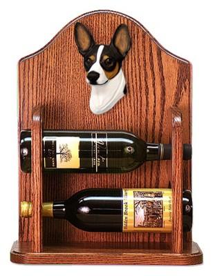 Rat Terrier Dog Wood Wine Rack Bottle Holder Figure Tri 1
