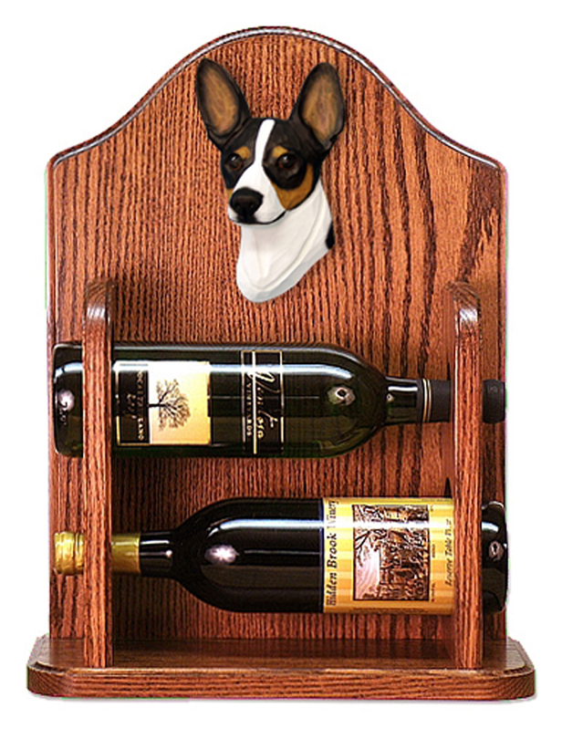 Rat Terrier Dog Wood Wine Rack Bottle Holder Figure Tri