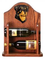 Rottweiler Dog Wood Wine Rack Bottle Holder Figure