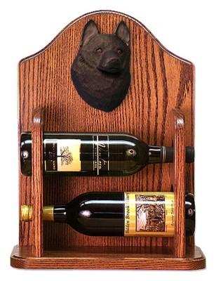 Schipperke Dog Wood Wine Rack Bottle Holder Figure