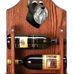 Schnauzer Dog Wood Wine Rack Bottle Holder Figure Blk/Silver 1