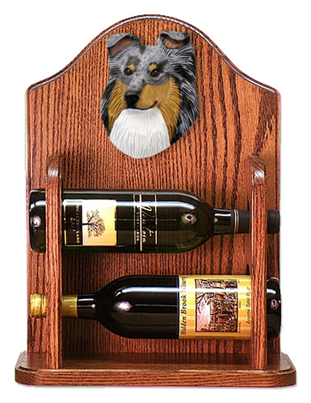 Sheltie Wood Dog Wood Wine Rack Bottle Holder Figure Blu