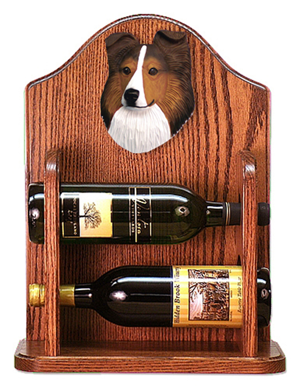Sheltie Wood Dog Wood Wine Rack Bottle Holder Figure Sable