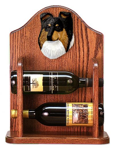 Sheltie Wood Dog Wood Wine Rack Bottle Holder Figure Tri 1
