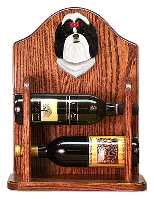 Shih Tzu Dog Wood Wine Rack Bottle Holder Figure Blk/Wht