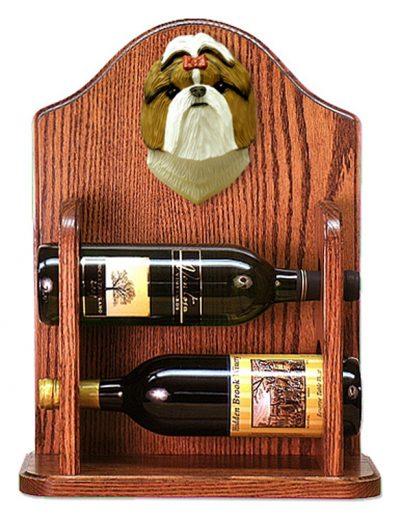 Shih Tzu Dog Wood Wine Rack Bottle Holder Figure Brn/Wht 1