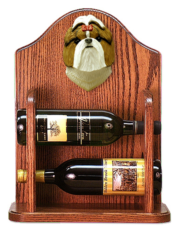 Shih Tzu Dog Wood Wine Rack Bottle Holder Figure Brn/Wht
