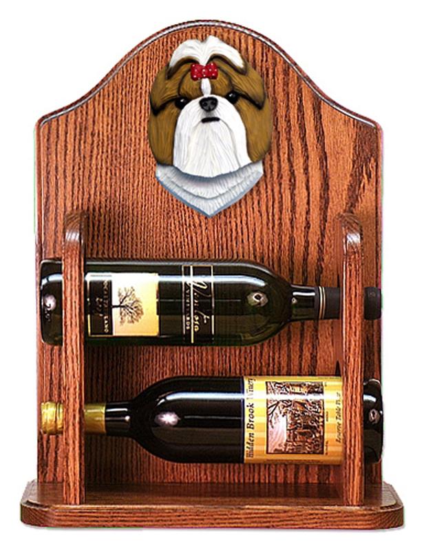 Shih Tzu Dog Wood Wine Rack Bottle Holder Figure Gold/Wht