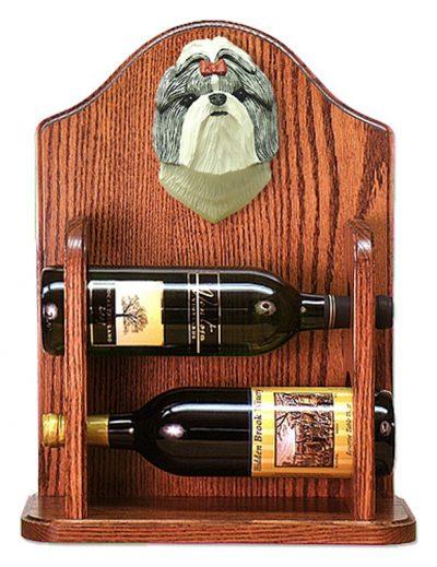Shih Tzu Dog Wood Wine Rack Bottle Holder Figure SilverWht 1