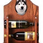 Siberian Husky Dog Wood Wine Rack Bottle Holder Figure Blk/Wht 1