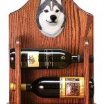 Siberian Husky Dog Wood Wine Rack Bottle Holder Figure Grey/Wht 1