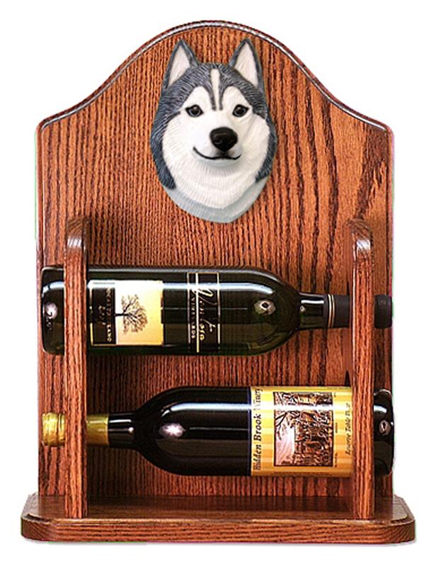 Siberian Husky Dog Wood Wine Rack Bottle Holder Figure Grey/Wht
