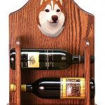 Siberian Husky Dog Wood Wine Rack Bottle Holder Figure Red/Wht 1