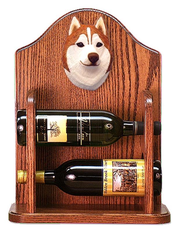 Siberian Husky Dog Wood Wine Rack Bottle Holder Figure Red/Wht