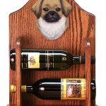 Tibetan Spaniel Dog Wood Wine Rack Bottle Holder Figure Fawn 1