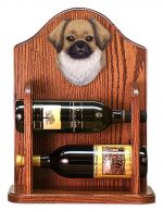 Tibetan Spaniel Dog Wood Wine Rack Bottle Holder Figure Fawn