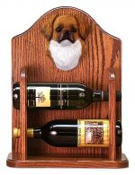 Tibetan Spaniel Dog Wood Wine Rack Bottle Holder Figure Red