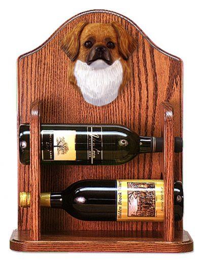 Tibetan Spaniel Dog Wood Wine Rack Bottle Holder Figure Red 1