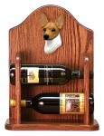 Toy Fox Terrier Dog Wood Wine Rack Bottle Holder Figure Red/Wht