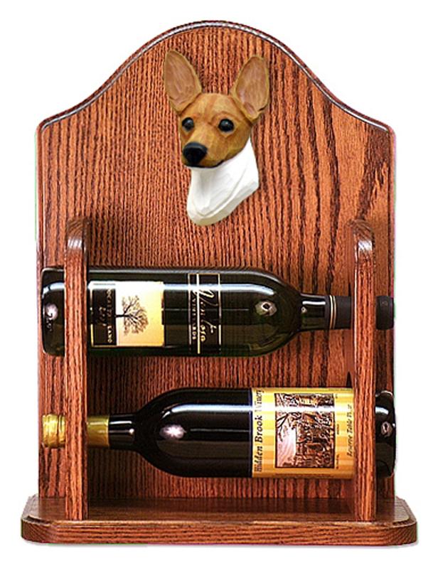Toy Fox Terrier Dog Wood Wine Rack Bottle Holder Figure Red/Wht