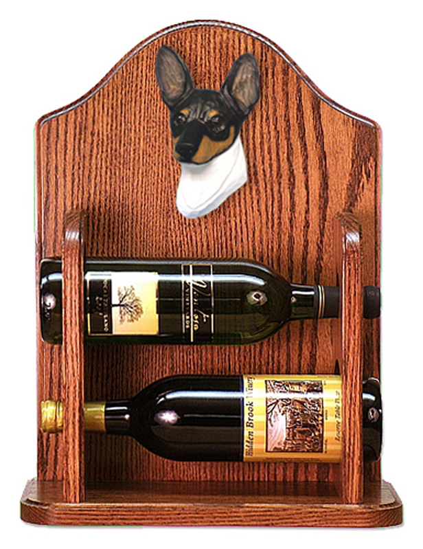 Toy Fox Terrier Dog Wood Wine Rack Bottle Holder Figure Tri
