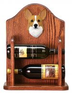 Welsh Corgi Pembroke Dog Wood Wine Rack Bottle Holder Figure Blonde