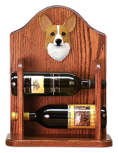 Welsh Corgi Pembroke Dog Wood Wine Rack Bottle Holder Figure Blonde 1