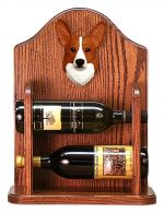 Welsh Corgi Pembroke Dog Wood Wine Rack Bottle Holder Figure Red