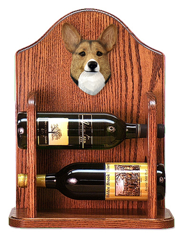 Welsh Corgi Pembroke Dog Wood Wine Rack Bottle Holder Figure Sable
