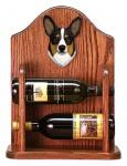 Welsh Corgi Pembroke Dog Wood Wine Rack Bottle Holder Figure Tri