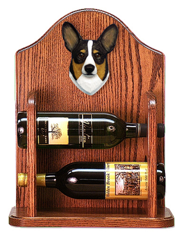 Welsh Corgi Pembroke Dog Wood Wine Rack Bottle Holder Figure Tri