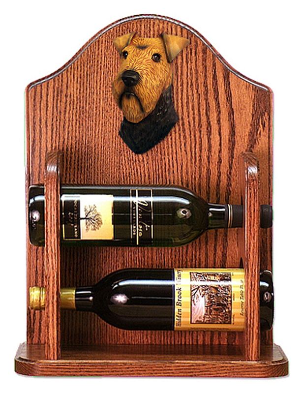 Welsh Terrier Dog Wood Wine Rack Bottle Holder Figure