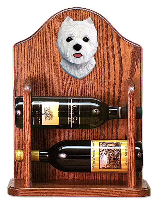 West Highland Terrier Dog Wood Wine Rack Bottle Holder Figure