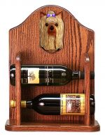 Yorkshire Terrier Dog Wood Wine Rack Bottle Holder Figure