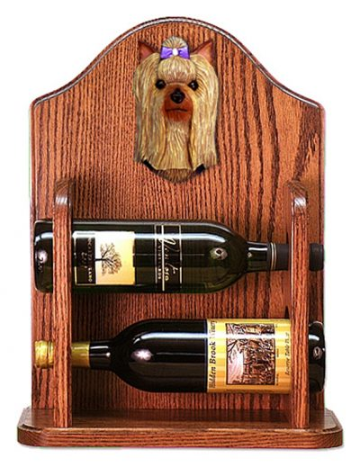 Yorkshire Terrier Dog Wood Wine Rack Bottle Holder Figure 1