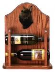 Schnauzer Dog Wood Wine Rack Bottle Holder Figure Blk