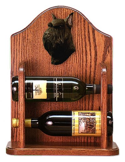 Schnauzer Dog Wood Wine Rack Bottle Holder Figure Blk 1
