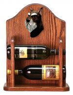 Schnauzer Dog Wood Wine Rack Bottle Holder Figure Blk/Silver