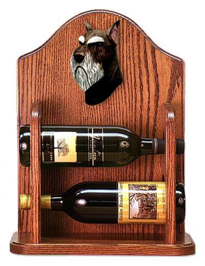 Schnauzer Dog Wood Wine Rack Bottle Holder Figure Blk/Silver 1