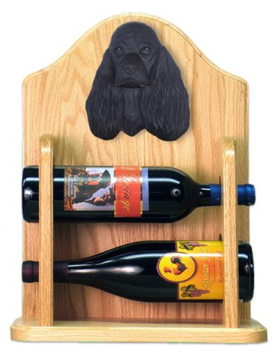 Cocker Spaniel Dog Wood Wine Rack Bottle Holder Figure Blk 2