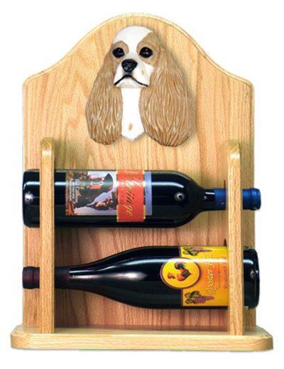 Cocker Spaniel Dog Wood Wine Rack Bottle Holder Figure Brn Parti 2