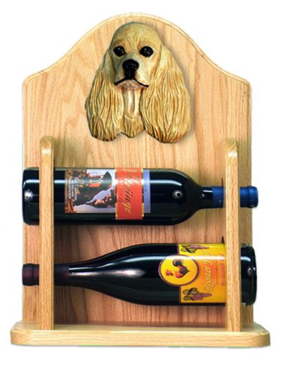 Cocker Spaniel Dog Wood Wine Rack Bottle Holder Figure Buff 2